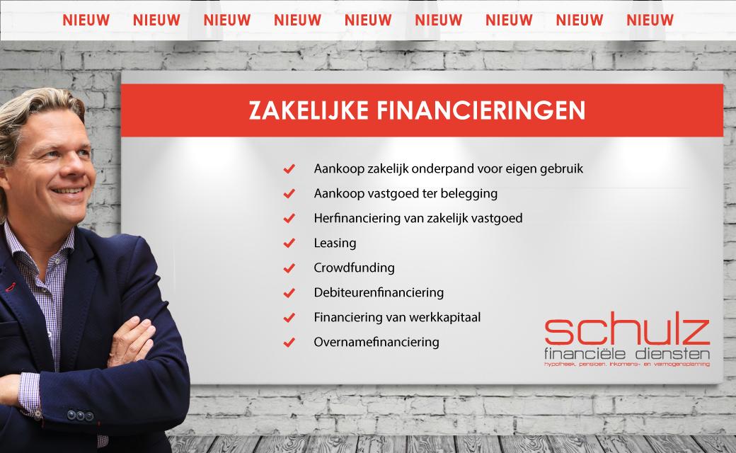 Nieuw Advies zakelijke financieringen bij Schulz Financiële Diensten